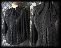 Gothic Black Sheer Polka Dot GOVERNESS Frill Pussy Bow Blouse 6 8 Victorian - £29.00