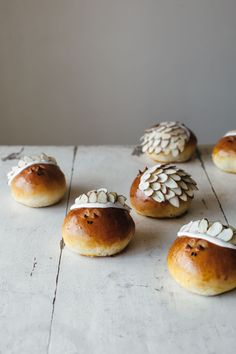 marzipan challah hedgehog bread buns with almond filling and sugar almond glaze