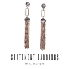Statement pieces. Earrings @mokaboutiqueaustralia #moka #móka #mokaboutique #mokaaustralia #mokaboutiqueaustralia #jewelry #jewellery #earings #earrings #tassel #tasselearrings #gold #crystals #diamonds #statementpiece #statementjewelry #statementearrings #fashion #style #boutique #vintage