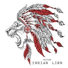 Lion in the red indian roach. Indian feather headdress of eagle