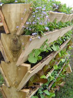Kitchen Garden Blog- like these stacked window boxes for a dual purpose garden and privacy wall!