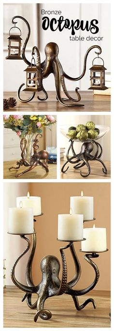 Bronze octopus home decor items: Candle holder, serving bowl, flower vase, and lanterns. Whimsical steampunk octopus.