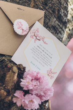 """Hochzeitseinladung """"Kirschblüten"""" Hochzeit, Einladung, Hochzeitseinladung, Vintage, Kraftpapier, Cherryblossom, Sommerhochzeit, Bonn, Heerstraße, Breite Straße by www.zartmint.de Foto by Tausendschön Fotografie"""