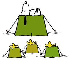 Snoopy Camping Out with Woodstock, Conrad and Olivier