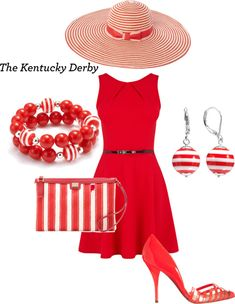 """Kentucky Derby red set"" by csjudit on Polyvore"