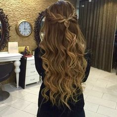 braided half up half down with big loose curls ~ we ❤ this! moncheriprom.com