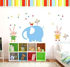Elephant And Bunny Childrens Wall Stickers: Amazon.co.uk: Baby