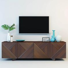 geometric wooden media console by Rosanna Ceravolo West Elm Media Console, Modern Media Cabinets, Modern Interior, Interior Design, Muebles Living, Living Room Tv, Dining Room, Dining Table, Mid Century Decor