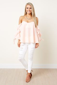 Stop Everything Peach Off The Shoulder Top at reddressboutique.com