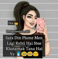 Sahi h ek dam Cute Quotes For Girls, Crazy Girl Quotes, Crazy Girls, Girly Attitude Quotes, Girl Attitude, Girly Quotes, Attitude Status, Funny Girl Quotes, Jokes Quotes