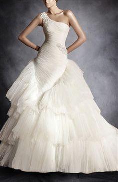 Applique Asymmetrical Shoulder Mermaid Bodice Layer Skirt Wedding Gown