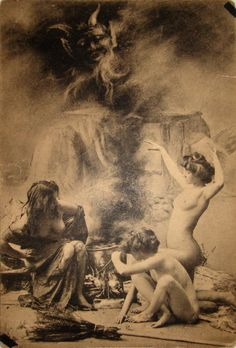 oliverfranju:  Witches' Sabbath in Paris (from a series of postcards, ca. 1910)