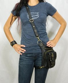 Boho Pack  Black Thigh Holster Protected Purse by WCCouture, $239.00