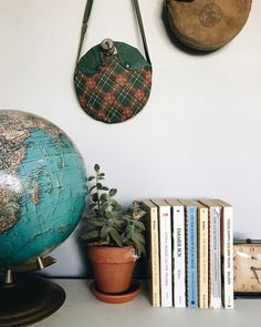Globe. Old canteens. Succulents. Books.