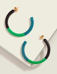 Resin Hoop Earrings - Navy/Rich Emerald/Vibrant Teal