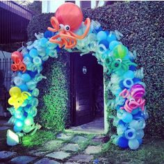 Balões Fundo do mar Polvo