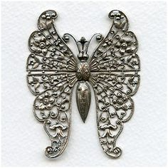 Vintage Rare Huge Oxidized Silver Butterfly Filigree (1) One of several rare pieces we will be listing today!