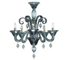 Indigo Smoke Glass Five Light Modern Chandelier - This romantic chandelier displays a sophisticated and refined look.