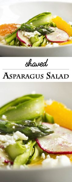 Shaved Asparagus and Orange Salad - Looking for something a little different to do with asparagus? Bored with your usual salad routine? Shaved asparagus salad is great and fun way to use asparagus with sweet oranges and spicy radishes all tossed with an orange vinaigrette. | justalittlebitofbacon.com