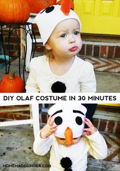 You can make a DIY Olaf costume in 30 minutes or less with this easy tutorial. All you need are a handful of supplies and a little bit of time to make the cutest Olaf costume out there!