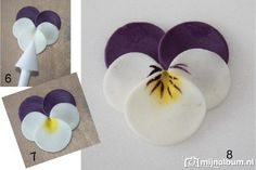 Pansies from circles (Link in clay, I'd do it in painted felt)