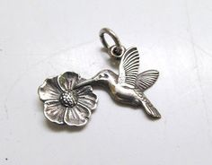 Retired James Avery .925 Sterling Silver Hummingbird Flower Charm