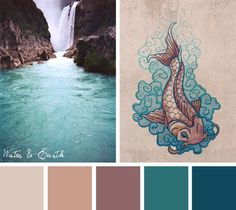 Try this nature inspired Water & Earth color scheme out on your embroidery designs.