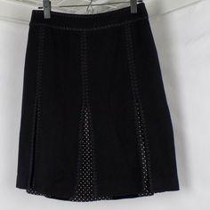 5e03b53c7b Ann Taylor Pleated Panel Gored Skirt Polka Dot Black Womens Size 2 # AnnTaylor #Pleated