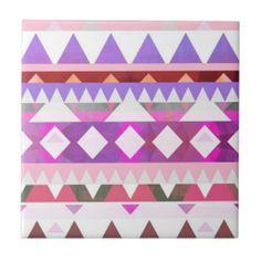 Mix #538 - Pink Tribal Designer Tile