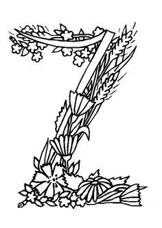 Coloriage pour enfants de la lettre Z en motif fleuris