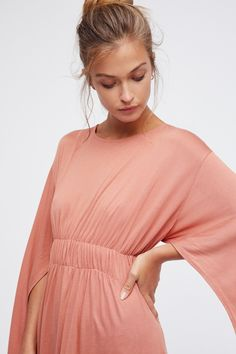 kdimoffphotography.com outfit ideas Fantasy Maxi Dress | Easy and effortless maxi dress featuring ruffle trim and cape-like long sleeves.   * Lightweight fabric * Side slit detailing