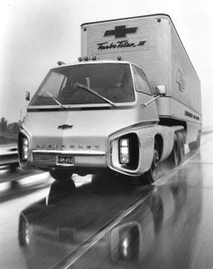 "saychevrolet: "" Rakish Rig: The 1965 Chevrolet Turbo Titan II gas turbine powered concept truck was quite the stylish hauler indeed. "" ""In July of Chevrolet announced its Turbo-Titan. Chevrolet Malibu, Chevrolet Camaro, Cool Trucks, Chevy Trucks, Cool Cars, Pickup Trucks, Strange Cars, Weird Cars, Cadillac Srx"