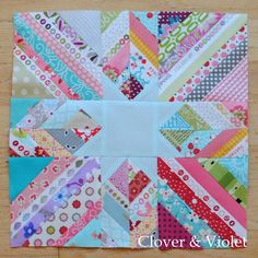 String Scrappy Star | The star would pop if done in BLACK on this quilt block