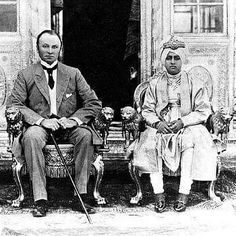 Lord Curzon Viceroy of India with Maharajah Bhupinder Singh of Patiala.  c. 1907