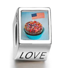Soufeel Cupcake american Flag independence Day Love European Charms Compatible With Pandora Bracelets Soufeel,