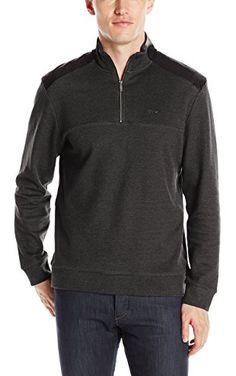 Calvin Klein Men's Long Sleeve Sold Q-Zip Jacquard Mix Media Mock, Black, Large ❤ Calvin Klein Men's Collections