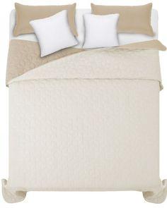 Bezovy presivany prehoz na manzelsku postel (2) Bed, Furniture, Home Decor, Decoration Home, Stream Bed, Room Decor, Home Furnishings, Beds, Home Interior Design