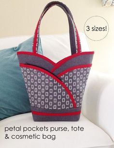 A PDF sewing pattern for the reversible multi-size Petal Purse, Tote, and Cosmetic Bags from CosyNest Designs. This handbag pattern consists of lovely features