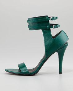 Johanna Ankle-Cuff Patent Sandal, Vine Green - Neiman Marcus