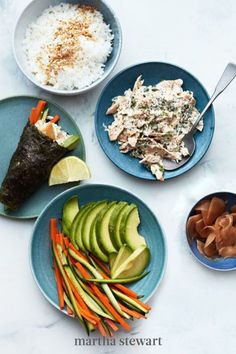 Making sushi is not as hard as you think, especially when you try making handrolls. Start by doctoring up a can of tuna with mayonnaise, lemon, and cilantro—think spicy tuna with the spice on the side. #marthastewart #recipes #recipeideas #seafoodrecipes #seafooddinners #seafood Canned Tuna Recipes, Sushi Recipes, Asian Recipes, Cooking Recipes, Budget Recipes, Asian Foods, Recipies, Shellfish Recipes, Seafood Recipes