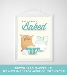 Kitchen Baking Print  Lets Get Baked  Poster minimal by noodlehug