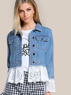 Lace Jeans, Denim And Lace, Fashion Fabric, Denim Fashion, Artisanats Denim, Jean Diy, Denim Ideas, Denim Crafts, Denim Outfit