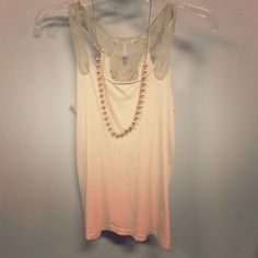 Ann Taylor The Loft cream/pink tank top Ann Taylor the Loft cream/pink tank top with detailed tan shoulder accents. (Necklace shown on cover photo sold separately). Ann Taylor Tops Tank Tops