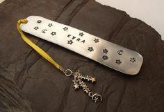 Celestial sun star moon metal stamped personalised bookmark