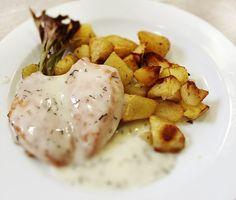 Denné menu Vranov | Zapekané kuracie prsia v kôprovom veloute, opekané zemiaky - reštaurácia Hotel Patriot*** #hotel #restaurant