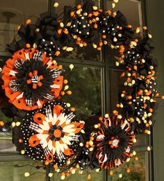 Halloween Flower Bow Wreath