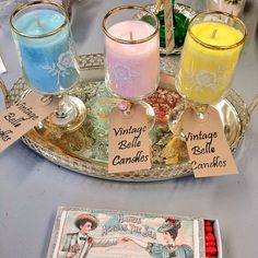 Vintage glass Candles by Vintagebellecandles on Etsy