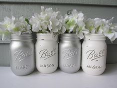 Painted and Distressed Ball Mason Jars- Metallic Silver and White -Set of Vases, Rustic Wedding, Centerpieces Wedding Centerpieces Mason Jars, Fall Wedding Decorations, Mason Jar Crafts, Mason Jar Diy, Green Fall Weddings, Small Wedding Bouquets, Wedding Flowers, Fall Wedding Arches, Ball Mason Jars