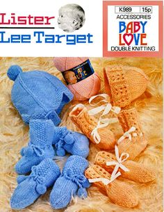 Items similar to PDF Vintage Pretty Baby Bonnet Helmet & Bootees Mitts Knitting Pattern Lister Lee Pram Set Baby Boy, Baby Girl, Kitsch on Etsy Easy Knitting, Double Knitting, Knitting Patterns, Crochet Patterns, Quick Knits, Moss Stitch, Baby Bonnets, Cat Doll, Pretty Baby