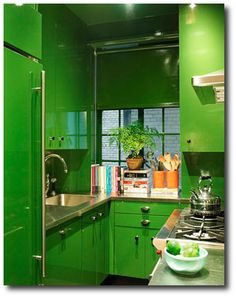Delightful Lacquered Cabinets In High Gloss Green Paint. Ma Petite, Manhattan Kitchen,  Manhattan Apartment